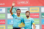 Astana Pro Team leading team at the end of Stage 20 of the La Vuelta 2018, running 97.3km from Andorra Escaldes-Engordany to Coll de la Gallina, Spain. 15th September 2018.                   <br /> Picture: Unipublic/Photogomezsport | Cyclefile<br /> <br /> <br /> All photos usage must carry mandatory copyright credit (© Cyclefile | Unipublic/Photogomezsport)