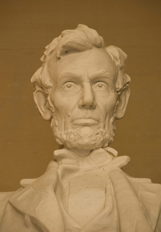 Washington DC; USA: The Lincoln Memorial, Head of President Abraham Lincoln, on the National Mall.Photo copyright Lee Foster Photo # 4-washdc82643