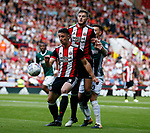 Enda Stevens of Sheffield Utd  and Jack O'Connell of Sheffield Utd combine to keep out Josh McEachran of Brentford during the English Championship League match at Bramall Lane Stadium, Sheffield. Picture date: August 5th 2017. Pic credit should read: Simon Bellis/Sportimage