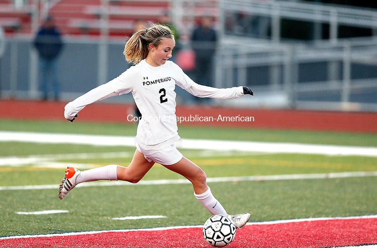 Southbury, CT- 11 November 2016-111116CM18- Pomperaug's Anna Carnes, scores a goal against Avon during their state tournament matchup on Friday.     Christopher Massa Republican-American
