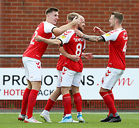 Fleetwood Town's Paddy Madden (Ctr) celebrates with team-mates after scoring the opening goal  <br /> <br /> Photographer Rich Linley/CameraSport<br /> <br /> The EFL Sky Bet League One - Fleetwood Town v Oxford United - Saturday 7th September 2019 - Highbury Stadium - Fleetwood<br /> <br /> World Copyright © 2019 CameraSport. All rights reserved. 43 Linden Ave. Countesthorpe. Leicester. England. LE8 5PG - Tel: +44 (0) 116 277 4147 - admin@camerasport.com - www.camerasport.com