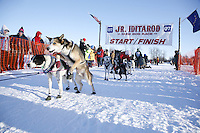 Saturday, February 24th, Knik, Alaska.  Jr. Iditarod musher Garry McKeller leaves start line on Knik Lake