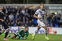 Erik Lamela of Tottenham Hotspur turns to celebrate after scoring his goal during the UEFA Europa League match between Tottenham Hotspur and Qarabag FK at White Hart Lane, London, England on 17 September 2015. Photo by Andy Rowland.