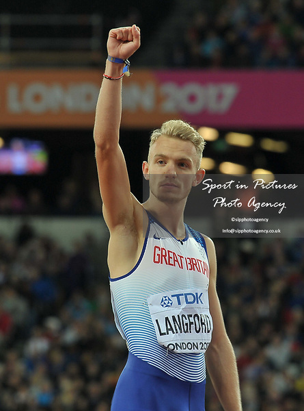 Kyle LANGFORD (GBR) in the mens 800m final. IAAF world athletics championships. London Olympic stadium. Queen Elizabeth Olympic park. Stratford. London. UK. 08/08/2017. ~ MANDATORY CREDIT Garry Bowden/SIPPA - NO UNAUTHORISED USE - +44 7837 394578