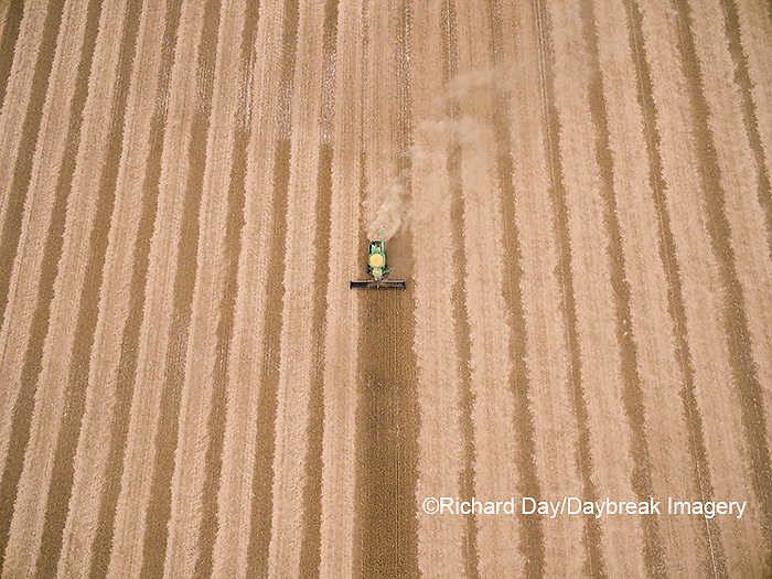 63801-09613 Soybean Harvest, John Deere combine harvesting soybeans - aerial - Marion Co. IL