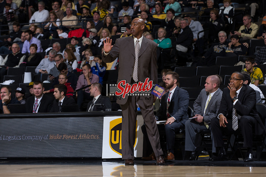 Wake Forest Demon Deacons head coach Danny Manning gives instructions from the sideline during second half action against the Coastal Carolina Chanticleers at the LJVM Coliseum on December 18, 2015 in Winston-Salem, North Carolina.  The Demon Deacons defeated the Chanticleers 83-77.  (Brian Westerholt/Sports On Film)