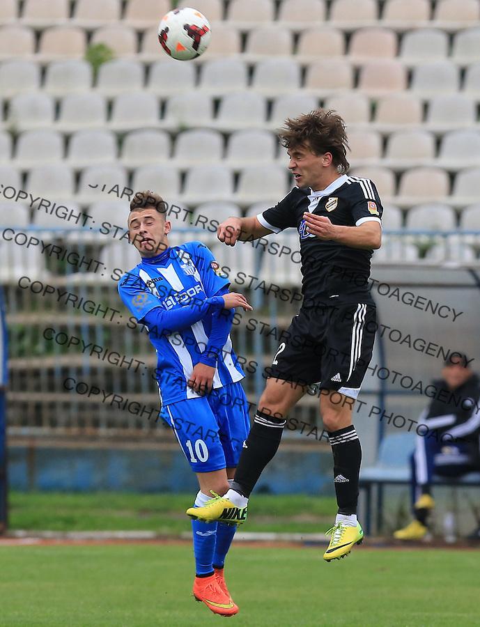 Fudbal Jelen Super League season 2014-2015<br /> OFK Beograd v Cukaricki<br /> Filip STojkovic (R) and Dejan Drazic<br /> Beograd, 25.09.2014.<br /> foto: Srdjan Stevanovic/Starsportphoto&copy;