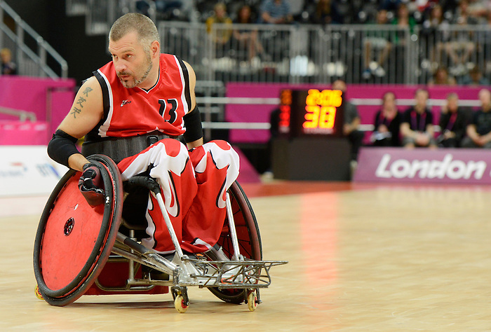 LONDON, ENGLAND 09/07/2012   Jared Funk of Team Canada against Team Sweden in Wheelchair Rugby at the London 2012 Paralympic Games in the Basketball Arena.  (Photo by Matthew Murnaghan/Canadian Paralympic Committee)
