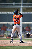 Baltimore Orioles Tristan Graham (87) at bat during a minor league Spring Training game against the Tampa Bay Rays on March 29, 2017 at the Buck O'Neil Baseball Complex in Sarasota, Florida.  (Mike Janes/Four Seam Images)