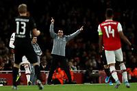28th November 2019; Emirates Stadium, London, England; UEFA Europa League Football, Arsenal versus Frankfurt; Arsenal Manager Unai Emery in animated mood gives out instructions - Editorial Use