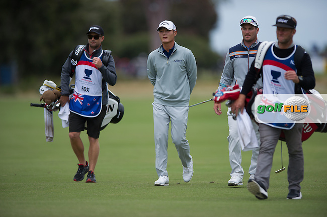 Danny Lee (NZL) Ryan Fox (NZL) during round 3 of the ISPS Handa World Cup of Golf, from Kingston heath Golf Club, Melbourne Australia. 26/11/2016<br /> Picture: Golffile | Anthony Powter<br /> <br /> <br /> All photo usage must carry mandatory copyright credit (&copy; Golffile | Anthony Powter)