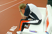 23-9-06,Leiden, Daviscup Netherlands-Tsjech Republic, Dutch captain Tjerk Bogtstra after loosing