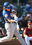 Los Angeles Dodgers&rsquo; Kike Hernandez bats in a spring training game in Scottsdale, Ariz., on Friday, March 18, 2016. <br />Photo by Cathleen Allison
