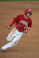 Auburn Doubledays second baseman Dalton Dulin (4) running the bases during a game against the Batavia Muckdogs on September 7, 2015 at Falcon Park in Auburn, New York.  Auburn defeated Batavia 11-10 in ten innings.  (Mike Janes/Four Seam Images)