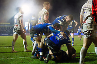 Jack Walker of Bath Rugby scores a try in the first half. Premiership Rugby Cup match, between Bath Rugby and Gloucester Rugby on February 3, 2019 at the Recreation Ground in Bath, England. Photo by: Patrick Khachfe / Onside Images