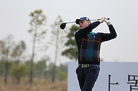 Morten Orum Madsen (DEN) tees off the 14th tee during Sunday's Final Round of the 2014 BMW Masters held at Lake Malaren, Shanghai, China. 2nd November 2014.<br /> Picture: Eoin Clarke www.golffile.ie