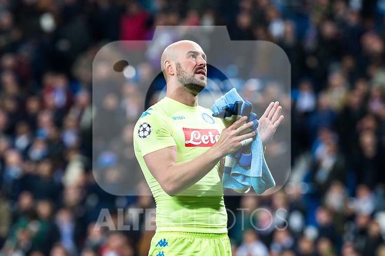 Jose Manuel Reina of SSC Napoli  during the match of Champions League between Real Madrid and SSC Napoli  at Santiago Bernabeu Stadium in Madrid, Spain. February 15, 2017. (ALTERPHOTOS)