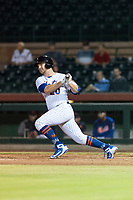 Scottsdale Scorpions first baseman Peter Alonso (20), of the New York Mets organization, follows through on his swing during an Arizona Fall League game against the Surprise Saguaros at Scottsdale Stadium on October 15, 2018 in Scottsdale, Arizona. Surprise defeated Scottsdale 2-0. (Zachary Lucy/Four Seam Images)