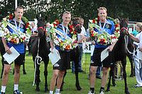 KAATSEN: BITGUM: Kaatsvereniging 'Oefening Kweekt Kunst', 23-08-2015, Van Aisma Partij, Tjisse Steenstra (koning), Herman Sprik en Marten Feenstra waren in de finale met 5-5 en 6-2 te sterk voor het partuur van Johan van der Meulen, Hylke Bruinsma en Hendrik Kootstra, ©foto Martin de Jong
