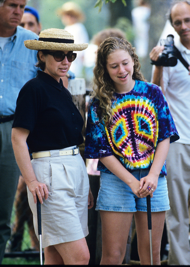 Hillary Clinton plays miniature golf with her daughter Chelsea during a Presidential vacation on the Massachusetts island of Martha's Vineyard.