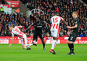 2nd December 2017, bet365 Stadium, Stoke-on-Trent, England; EPL Premier League football, Stoke City versus Swansea City;  Wilfried Bony of Swansea City heads in the opening goal of the game in the second minute