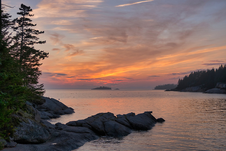 This sunset over Deer Isle is about as tranquil as can be found on the northern Maine coastline.
