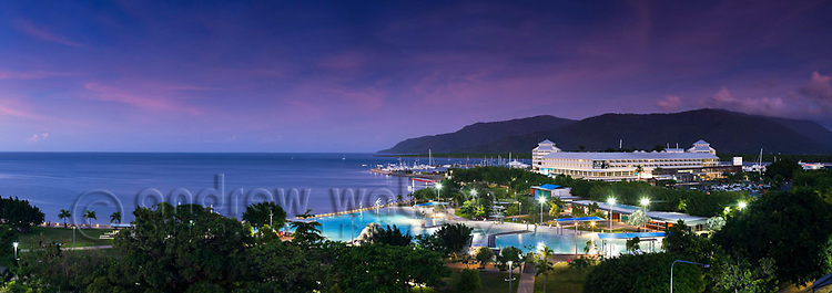 View of Esplanade Lagoon and The Pier at dusk.  Cairns, Queensland, AUSTRALIA