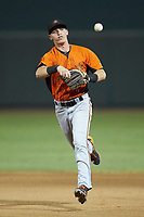 Frederick Keys shortstop Chris Clare (2) makes a throw to first base against the Winston-Salem Dash at BB&T Ballpark on July 26, 2018 in Winston-Salem, North Carolina. The Keys defeated the Dash 6-1. (Brian Westerholt/Four Seam Images)