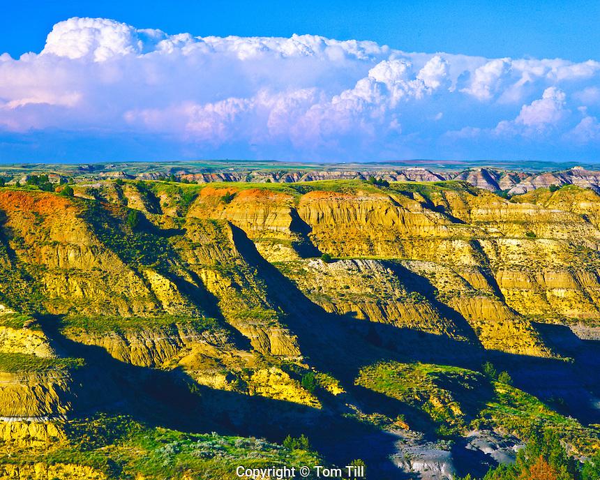 Summer Clouds over Badlands, North Unit, Theodore Roosevelt National Park, North Dakota