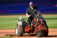 Head groundskeeper Doug Tanis drags the field prior to the start of the Carolina League game between the Frederick Keys and the Winston-Salem Dash at  BB&T Ballpark April 28, 2010, in Winston-Salem, North Carolina.  Photo by Brian Westerholt / Four Seam Images