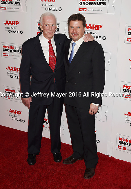 BEVERLY HILLS, CA - FEBRUARY 08: Astronaut Eugene Cernan (L) and producer Mark Stewart attend AARP's Movie For GrownUps Awards at the Regent Beverly Wilshire Four Seasons Hotel on February 8, 2016 in Beverly Hills, California.