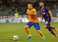 Calcio: amichevole Fiorentina vs Barcellona. Firenze, stadio Artemio Franchi, 2 agosto 2015.<br /> FC Barcelona's Andres Iniesta in action during the friendly match between Fiorentina and FC Barcelona at Florence's Artemio Franchi stadium, 2 August 2015.<br /> UPDATE IMAGES PRESS/Riccardo De Luca