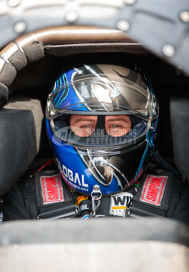 Apr 12, 2019; Baytown, TX, USA; NHRA funny car driver Shawn Langdon during qualifying for the Springnationals at Houston Raceway Park. Mandatory Credit: Mark J. Rebilas-USA TODAY Sports