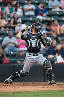 West Virginia Power catcher Taylor Gushue (17) makes a throw to second base between innings of the game against the Hickory Crawdads at L.P. Frans Stadium on August 15, 2015 in Hickory, North Carolina.  The Power defeated the Crawdads 9-0.  (Brian Westerholt/Four Seam Images)