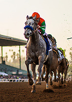 ARCADIA, CA - DECEMBER 26: Unique Bella # 3 with Mike Smith winning the La Brea Stakes at Santa Anita Park on December 26, 2017 in Arcadia, California. (Photo by Alex Evers/Eclipse Sportswire/Getty Images)