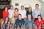 30 ROCKS: John Gerard Regan, Ballyduff (seated centre) celebrated his 30th birthday last Saturday night in Bella Bia, restaurant, Tralee. Seated l-r: Marcella Regan, Kathy O'Sullivan, John Gerard Regan with John and Ciarán Regan. Back l-r: Nora and Seamus Falvey with Siobhan and Gary Meehan, Ashling Hanranhan and Patrick Regan.