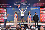 Adam Yates (GBR) Orica-Scott takes over the young riders Maglia Bianca at the end of Stage 18 of the 100th edition of the Giro d'Italia 2017, running 137km from Moena to Ortisei/St. Ulrich, Italy. 25th May 2017.<br /> Picture: LaPresse/Gian Mattia D'Alberto | Cyclefile<br /> <br /> <br /> All photos usage must carry mandatory copyright credit (&copy; Cyclefile | LaPresse/Gian Mattia D'Alberto)