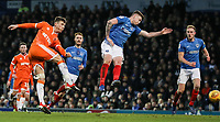 Blackpool's Chris Long scoring his side's first goal on his debut<br /> <br /> Photographer Andrew Kearns/CameraSport<br /> <br /> The EFL Sky Bet League One - Portsmouth v Blackpool - Saturday 12th January 2019 - Fratton Park - Portsmouth<br /> <br /> World Copyright © 2019 CameraSport. All rights reserved. 43 Linden Ave. Countesthorpe. Leicester. England. LE8 5PG - Tel: +44 (0) 116 277 4147 - admin@camerasport.com - www.camerasport.com