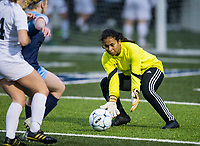 NWA Democrat-Gazette/BEN GOFF @NWABENGOFF<br /> Estera Kanono, Springdale Har-Ber goalkeeper, secures the ball Tuesday, March 12, 2019, during the match vs Bentonville at Wildcat Stadium in Springdale.
