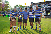 Anthony Perenise, Kahn Fotuali'i, Ben Tapuai, Cooper Vuna and Taulupe Faletau of Bath Rugby pose for a photo after the match. Aviva Premiership match, between Bath Rugby and London Irish on May 5, 2018 at the Recreation Ground in Bath, England. Photo by: Patrick Khachfe / Onside Images