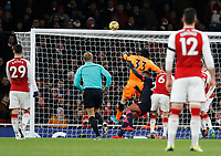 Petr Čech of Arsenal pushes the ball over during the Premier League match between Arsenal and Huddersfield Town at the Emirates Stadium, London, England on 29 November 2017. Photo by Carlton Myrie / PRiME Media Images.