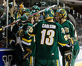 Brian Roloff (Vermont - 14), Viktor Stalberg (Vermont - 18), Dan Lawson (Vermont - 28), Corey Carlson (Vermont - 13) and Kevan Miller (Vermont - 15) celebrate Stalberg's goal. The University of Vermont Catamounts defeated the Yale University Bulldogs 4-1 in their NCAA East Regional Semi-Final match on Friday, March 27, 2009, at the Bridgeport Arena at Harbor Yard in Bridgeport, Connecticut.