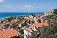 Italy, Calabria, Cittadella del Capo: beach resort with 5 stars  luxury hotel Palazzo del Capo (background, left)