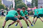 04.07.2019, Parkstadion, Zell am Ziller, AUT, TL Werder Bremen - Tag 00<br /> <br /> im Bild / picture shows 1. Training im TL Zillertal am Mittwoch abend<br /> <br /> Dehnuebungen am Morgen vor dem Training im Zillertaln<br /> Felix Beijmo (Werder Bremen #02)<br /> Claudio Pizarro (Werder Bremen #14)<br /> Yuya Osako (Werder Bremen #08)<br /> <br /> Foto © nordphoto / Kokenge