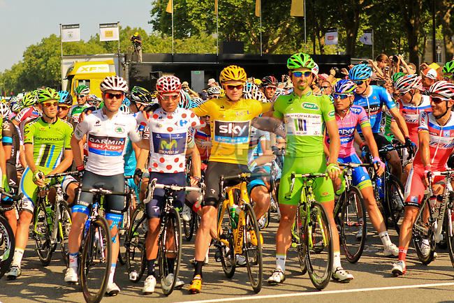 L-R Climbers Polka Dot Jersey leader Nairo Alexander Quintano (COL) Movistar Team, Race leader Yellow Jersey Christopher Froome (GBR) Sky Procycling and Green Points Jersey leader Peter Sagan (SVK) Cannondale lined up at the start of the Final Stage 21 of the 100th Edition of the 2013 Tour de France from Versailes to Paris Champs-Elysees. 21st July 2013.<br /> (Photo:Thomas van Bracht / Peloton Photos/www.newsfile.ie)