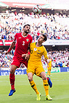 Tareq Khattab of Jordan (L) battles for the ball with Robbie Kruse of Australia (R) during the AFC Asian Cup UAE 2019 Group B match between Australia (AUS) and Jordan (JOR) at Hazza Bin Zayed Stadium on 06 January 2019 in Al Ain, United Arab Emirates. Photo by Marcio Rodrigo Machado / Power Sport Images