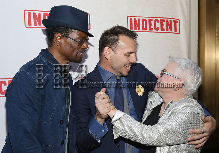 Basil Twist with boyfriend and Paula Vogel attends the Broadway Opening Night Performance of  'Indecent' at The Cort Theatre on April 18, 2017 in New York City.