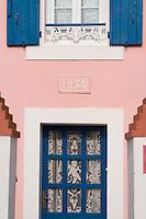 Europe/France/Bretagne/56/Morbihan/Belle-Ile/ Sauzon:  détail décoration extérieure d'une ancienne maison de pêcheurs