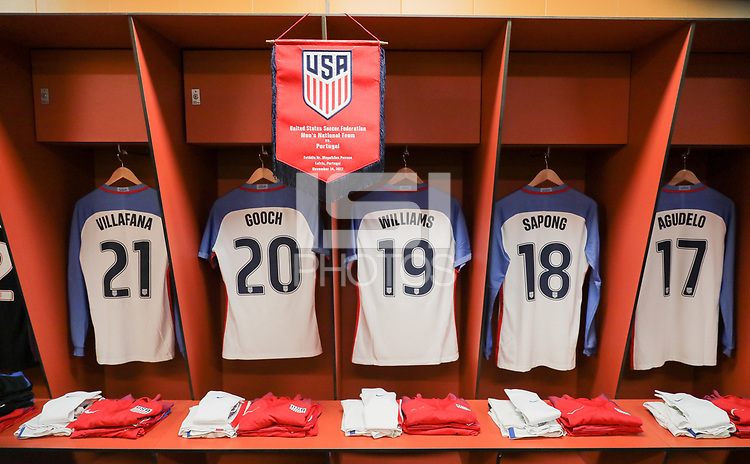 Leiria, Portugal - Tuesday November 14, 2017: USMNT locker room in Portugal during an International friendly match between the United States (USA) and Portugal (POR) at Estádio Dr. Magalhães Pessoa.