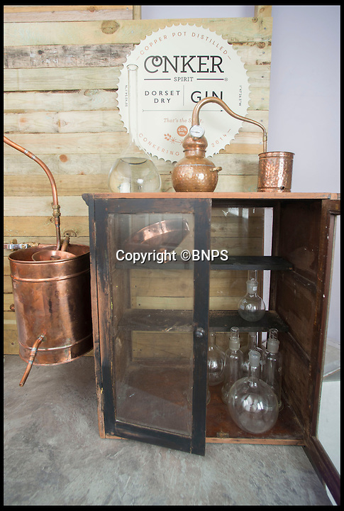 BNPS.co.uk (01202 558833)<br /> Pic: LauraDale/BNPS<br /> <br /> Rupert's distillery, set up in his home's study.<br /> <br /> A canny entrepreneur has launched Britain's smallest commercial gin distillery - after setting it up in the confines of his own kitchen.<br /> <br /> Rupert Holloway packed in his high-flying job as a chartered surveyor to start producing the trendy spirit one bottle at a time at his home in Christchurch, Dorset.<br /> <br /> His miniature distillery is the first ever to open in the county - and his unique recipe uses botanicals found in the hedgerows, forests and coastline of the county.<br /> <br /> He experimented with 37 recipes before settling on one made with gorse flowers and elderberriers hand-picked from the New Forest, and samphire, a sea vegetable, from the sea shore.<br /> <br /> The gin, called Conker Spirit, will be launched in time for Christmas and it is expected to sell for &pound;30 a bottle.